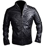 Spazeup Superman Smallville Black Quilted Motorcycle Faux Leather Jacket, XX-Large