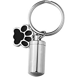 Valyria Memorial Jewelry Cylindrical Bottle Keychain with Pet Paw Charm Urn Keepsake Ashes Keyring