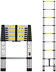 Telescoping Extension Ladder 8.5FT, Aluminum Telescopic Ladders with Carry Bag for Outdoor Indoor Use