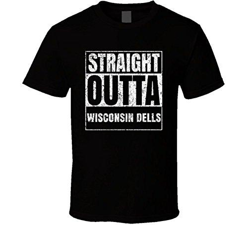 Straight Outta Wisconsin Dells City Worn Look Parody T Shirt L - Shops Dells Wisconsin