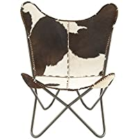 Deco 79 94987 Metal Real Leather Hair Chair, 30 x 36