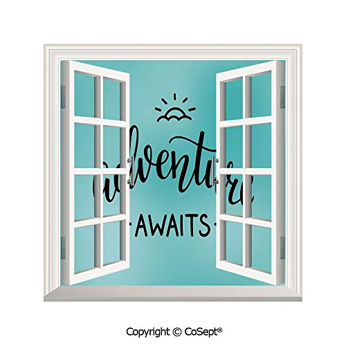 Artificial Window Wall Applique Landscape Wall Decoration,Adventure Awaits Lettering on a Vivid Abstract Pale Blue Backdrop Artwork Decorative,Window Decorative Decals Interior(25.86x22.63 inch)
