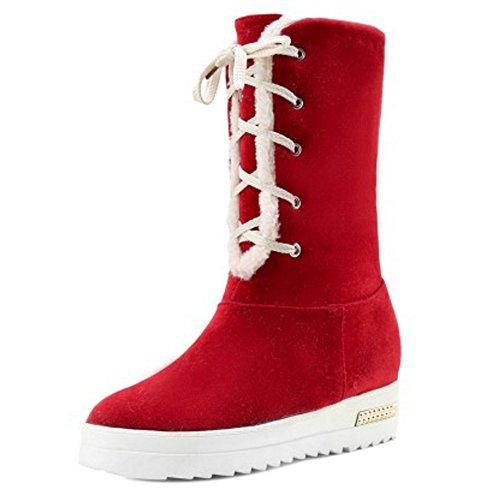 RAZAMAZA Women Warm Boots Lace Up Red xvK9UM