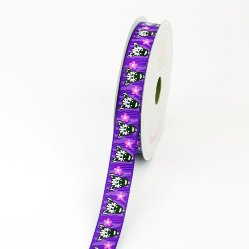 LUV RIBBONS Grosgrain Zebra with Flower Print Ribbon, 5/8-Inch, ()