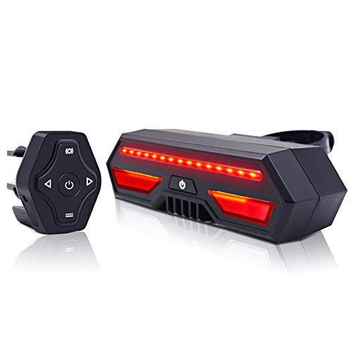 ESoku Bike Tail Light, Wireless Remote Control Bike Turn Signals, Rechargeable Safety Warning Bicycle Brake Lights and Flashing Lights Fits Road and Mountain Bikes ()