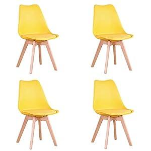 Uderkiny Conjunto de 4/6 sillas Sillas de Comedor con Cojines y Patas de Haya aptas para Comedor salón Cocina Oficina… 417uKItUYUL