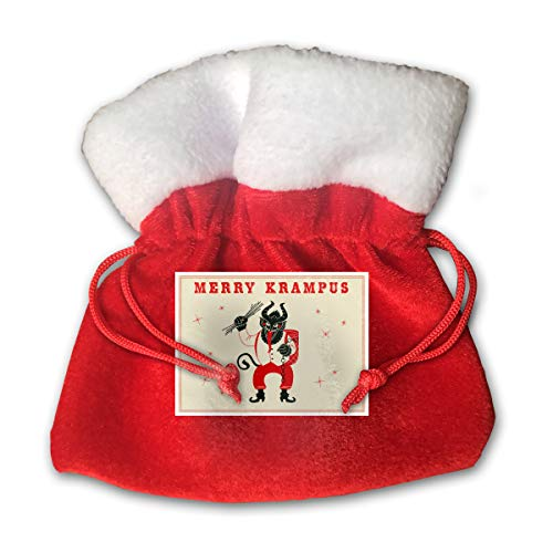 Merry Krampus Christmas Goat Yule Merry Christmas Xmas Gift Candy Bags Jewelry Toys Treat Small Tiny Little 6 Inch Miniature Drawstring Reusable Bundle Reusable -