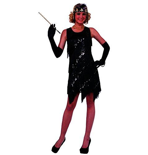 Forum Novelties Women's Midnight Dazzle Flapper Costume Dress, Black, (Black Flapper Costume)
