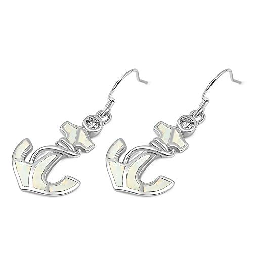 Glitzs Jewels 925 Sterling Silver Created Opal Earrings (White) (Anchor) | Cute Jewelry Gift