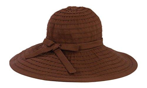 San Diego Hat Company Women's Large Brim Hat O/S Brown (Ribbon Sun Hat)