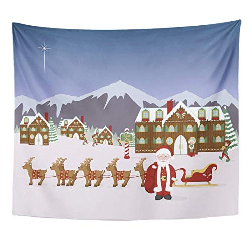 Tapestry Santa's North Pole Village Scene Santa with His Sleigh Elves Mrs Claus and Workshop in Winter Home Decor Wall Hanging for Living Room Bedroom Dorm 50x60 Inches
