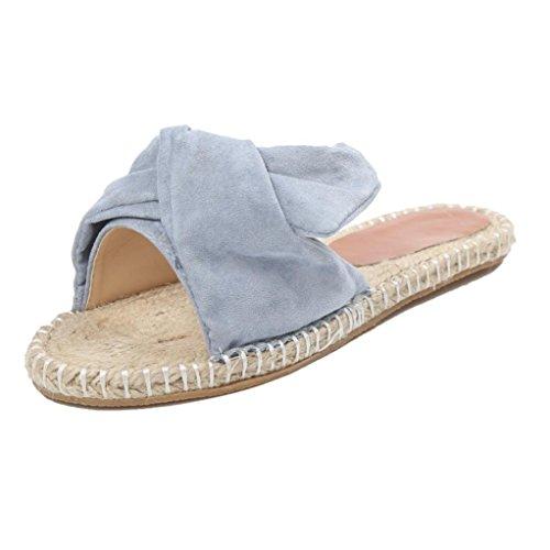 BZLine® Frauen Stricken Bogen Strand Gras Sandalen flache Flip Flops Hausschuhe Blau