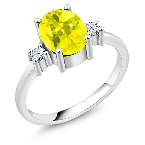 Gem Stone King 2.40 Ct Oval Canary Mystic Topaz 925 Sterling Silver Ring (Size 6)