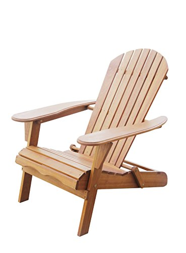 Amayo Home Solid Eucalyptus Wood Foldable Adirondack Chair in Natural Color. Ergonomic Design & Can be Folded for Storage or Bringing to picnics ()