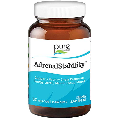 Adrenal Stability by Pure Essence Labs - Natural Adrenal Health Support Supplement for Fatigue,Stress, Anxiety Relief, Improved Mood & Focus, Cortisol Management - 30 Capsules