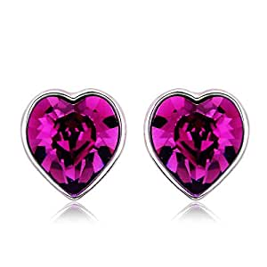 ZMC Women's Rhodium Plated Alloy Swarovski Crystals Stud Earrings, Silver/Purple