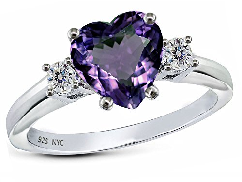 Star K 8mm Heart Shape Simulated Alexandrite Ring Sterling Silver Size 6.5