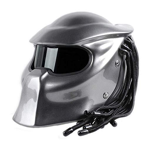 DYM258 Predator Jagged Warrior Front Flip Open Helmets D.O.T Certified Motorcycle Riding Harley Retro Scorpion Mask Cross-Country Fringed Braids Helmet LED Light,Sliver,L59~60CM