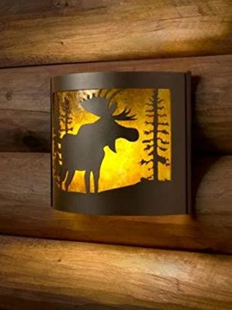 wall lighting moose facing right metal sconce