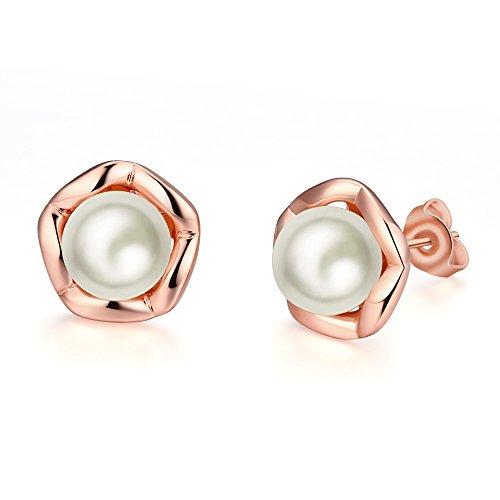 Pearl Stud Earrings Plated 18K Rose Gold Pearl Earrings for Women Girls Flower Stud Earrings, DreamSter