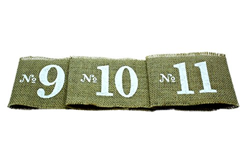 Rustic Burlap Table Centerpiece Number Wraps (1-20) (Rustic Country Candle Wrap)