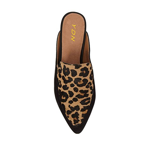 Slide Flats YDN Mules Clogs Heels Low Shoes Toe Slip Pointy Slipper Loafers Women On Leopard tqCYqwaxPn