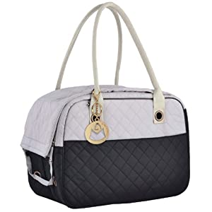 MG Collection Black / Gray Designer Inspired Stylish Quilted Soft Sided Travel Dog and Cat Pet Carrier Tote Hand Bag