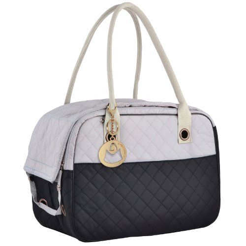Dog Carrier Handbags - MG Collection Black / Gray Designer Inspired Stylish Quilted Soft Sided Travel Dog and Cat Pet Carrier Tote Hand Bag