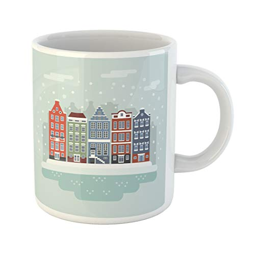 Semtomn Funny Coffee Mug Amsterdam Winter City Scene Netherlands Facades of Traditional Colorful Dutch 11 Oz Ceramic Coffee Mugs Tea Cup Best Gift Or Souvenir