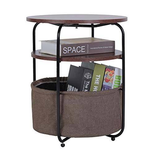 Modern Side Table End Table, Coffee Table Nightstand Sofa End Table Round Sofa Console Table with Fabric Storage