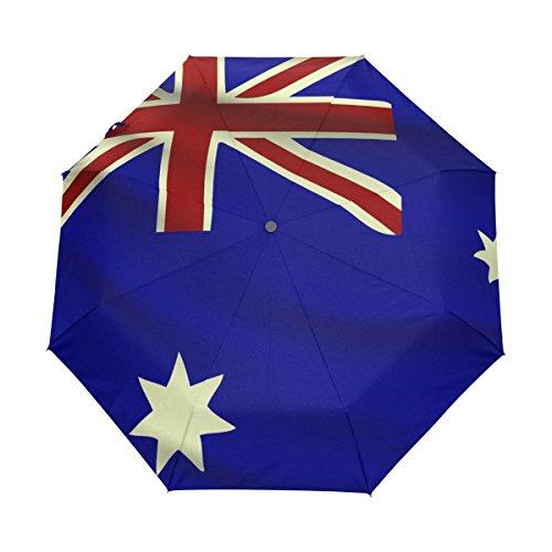 CoolPrintAll Australia Flag Lightweight UPF 50+ Anti-UV Parasol Waterproof Windproof 3 Folds Auto Open Close (Fast Delivery Dresses Australia)