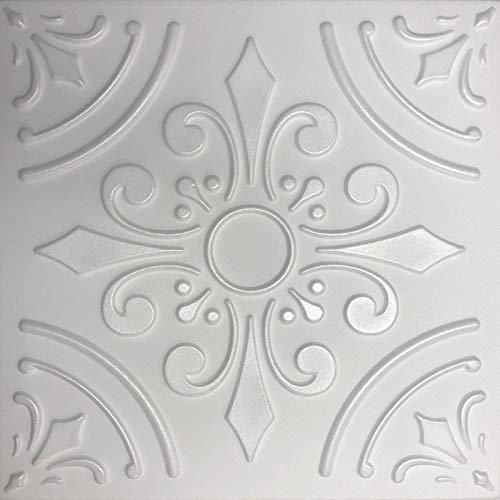 White Styrofoam Decorative Ceiling Tile Harmony (Case of 40 Tiles)