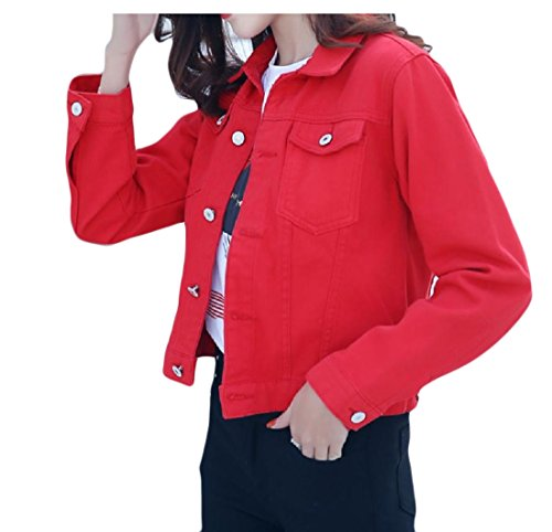 (Tootless-Women Casual Mulit Color Short Cardigan Coat Individuality Denim Jacket Red S)