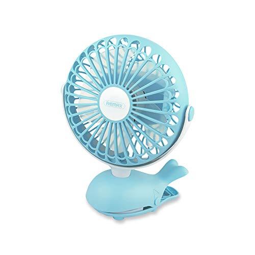 (REMAX Mini Clip Fan, Rechargeable Battery Quiet Desktop Fan, Powerful 3-Speed Airflow 360-degree Rotation, Small Personal Portable Fan Stroller Tent Dormitory Headboard)