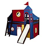 Jackpot Castle Low Loft Cherry Bed with Slide, Red and Blue Tent and Tower