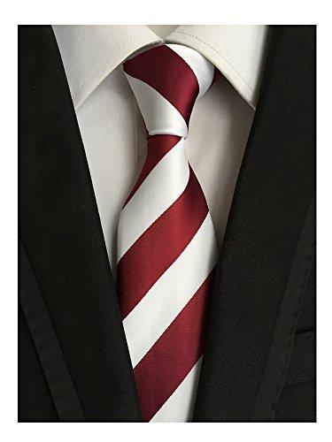 (Men's Classic Red White Stripe Tie Jacquard Woven Silk Tie Necktie + Gift Box)