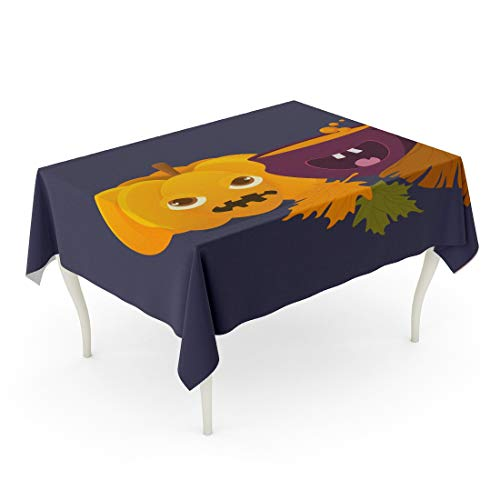 Tarolo Rectangle Tablecloth 60 x 102 Inch Cartoon Witch Cauldron Magic Boiling Soup Potion and Halloween Pumpkin Squash Jack O Lantern Broom Besom Space for Greeting Text Table Cloth]()