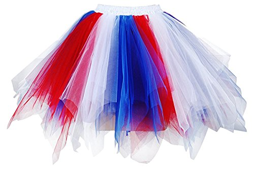 Red White And Blue Outfits (Musever 1950s Vintage Ballet Bubble Skirt Tulle Petticoat Puffy Tutu Red/White/Blue Small/Medium)