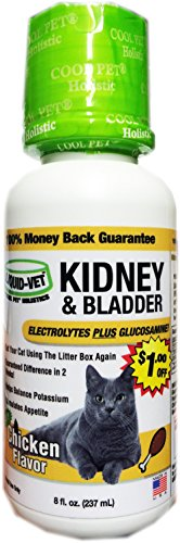 Liquid-Vet Cat Kidney and Bladder Formula – Fast Acting Glucosamine and Electrolytes for Kidney and Bladder Aid in Felines – Chicken Flavor – 8 Fluid Ounces 1 (Cat Liquid)