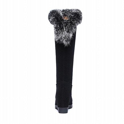 Carolbar Delle Donne Faux Fur Moda Caldo Inverno Chic Nascosto Tacco A Zeppa Stivali Da Neve Nero