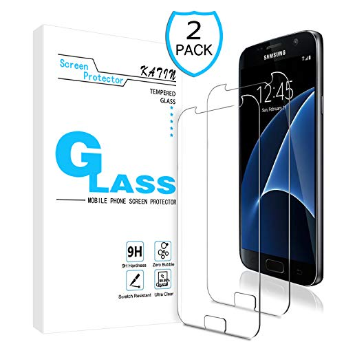 KATIN Galaxy S7 Screen Protector - [2-Pack] Tempered Glass for Samsung Galaxy S7 Screen Protector Easy to Install, Bubble Free with Lifetime Replacement Warranty