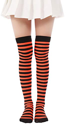 JASMINO Over Knee Long Striped Stockings Saint Patrick's Day Socks Costume Thigh High Tights(01 Orange Black Tights 2) -