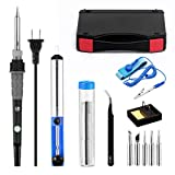 Soldering iron kit 60W, adjustable temperature soldering iron,ESD wristband, 5 solder tips, suction pump, Solder wire, soldering iron, tweezers, with tool box.