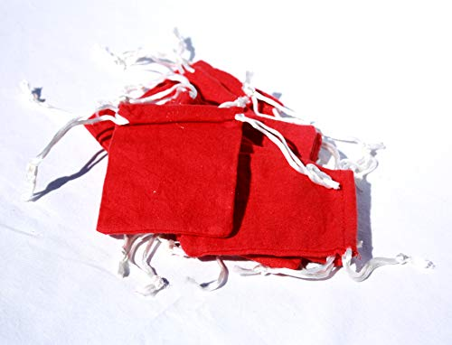 AURA VARIETY 72-Piece 3''x4'' Small RED Flannel Bag with White String Traditional Wiccan Gris Gris Mojo Treasure Bag by AURA VARIETY (Image #3)