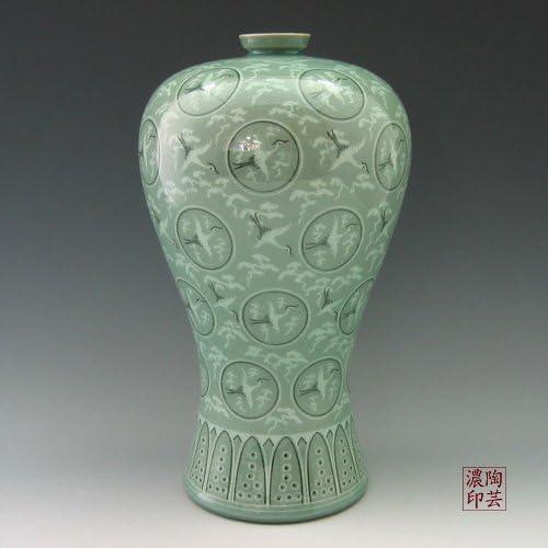 Korean Celadon Glaze Inlaid Clouds and Cranes Pattern Inlay Design Green Decorative Porcelain Ceramic Pottery Home Decor Accent Prunus Vase