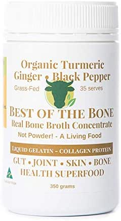 BONE BROTH Premium Beef Bone Broth Concentrate Turmeric - 100% Sourced From AU Grass-Fed, Pasture-Raised Cattle - Healthier Skin & Nails, Healthy Digestion