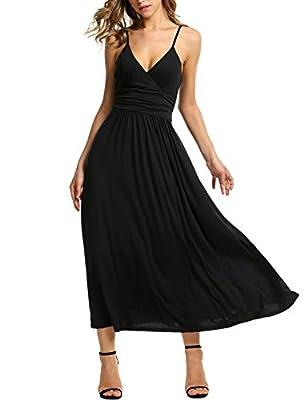 Elesol Women's V-neck High Waist Maxi Dress Spaghetti Strap Faux Wrap Long Dress