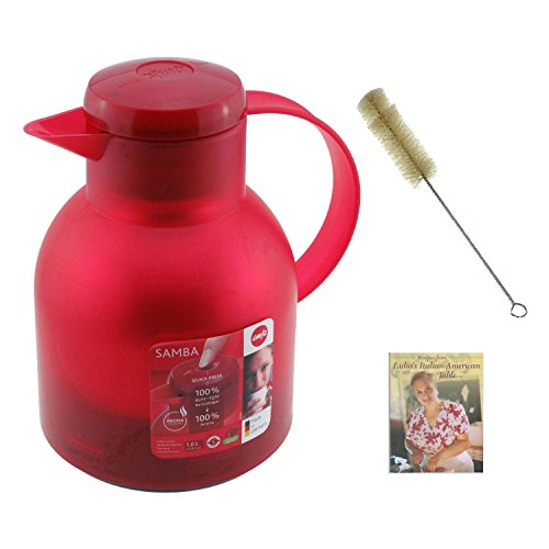Frieling E504232 Emsa Samba Quick Press Insulated Server in Red 34 fl. oz w/ Water Bottle Brush & Cookbook