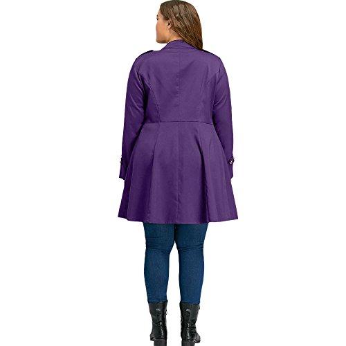 Manteau Rosegal Hiver Veste Violet Blouson À Taille Double Grande Trench Long Femme Automne Évasé Vintage Boutonnage dHHaA