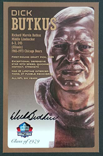 PRO FOOTBALL HALL OF FAME Dick Butkus Signed Bronze Bust Set Autographed Card NFL (Limited Edition #/150)